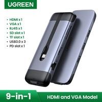 UGREEN-concentrador de red USB C Tipo portátil C A Multi USB 3,0, adaptador HDMI para MacBook Pro Air USB-C 3,1, Puerto divisor tipo C
