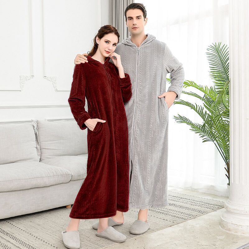 Extra Long Plus Size Winter Warm Flannel Bathrobe Women Men Zipper Hooded Bath Robe Couple Thicken Warm Dressing Gown Sleepwear