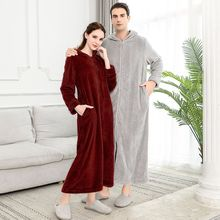 Extra Long Plus Size Winter Warm Flannel Bathrobe Women Men Zipper Hooded Bath Robe Couple Thicken Dressing Gown Sleepwear
