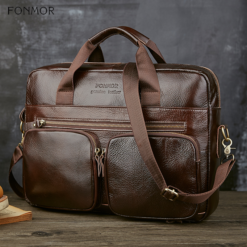 Image 3 - Fonmor Genuine Leather Briefcase For Men Cowhide Big Totes  Handbag Male Brown Business 14 laptop Hand Bags With Zipper  PocketTop-Handle Bags