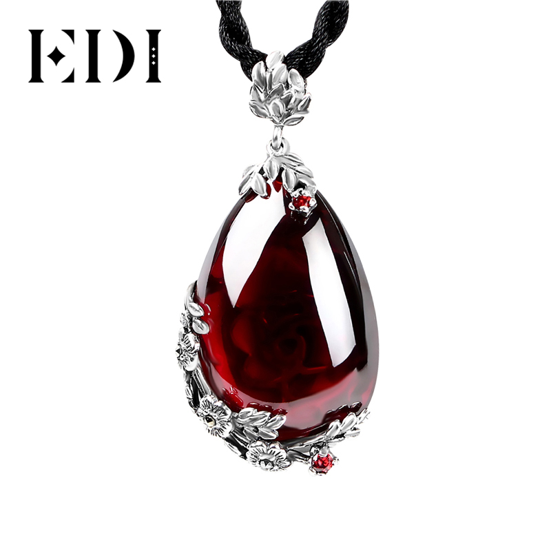 EDI Retro Royal Garnet Gemstone 100% 925 Sterling Silver Natural Chalcedony Pendant Necklace Female Fine Jewelry