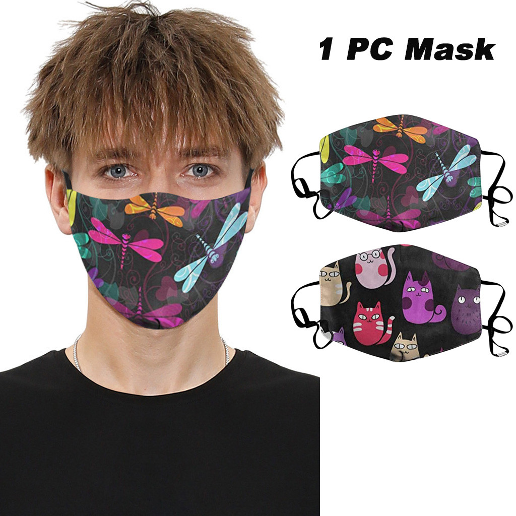 Fashionable Reusable Adult Dust Protection PM.25 Mouth Mask Cat Floral Print Protective Face Mask Windproof Mouth Face Masks