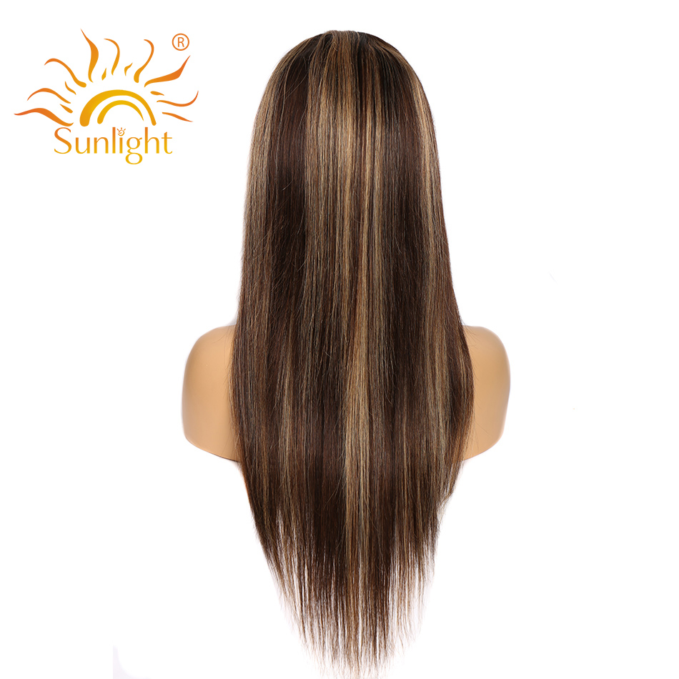 Transparent Lace Front  Wig Straight Highlight Honey Blonde Piano Color 13X6x1 Pre Plucked  Hair Wigs 150%Density 3