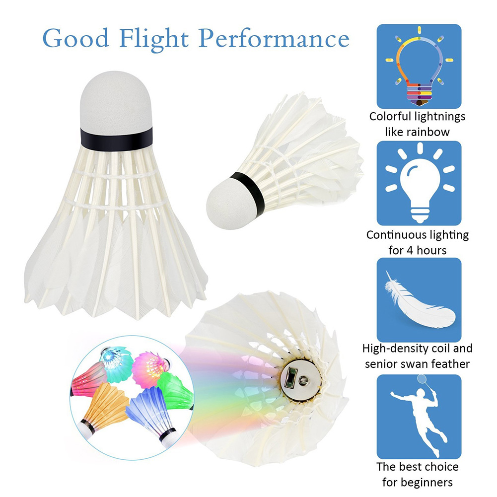 4 Pcs LED Badminton Shuttlecocks Lighting Birdies Shuttlecock Glowing Badminton For Outdoor Sports SEC88