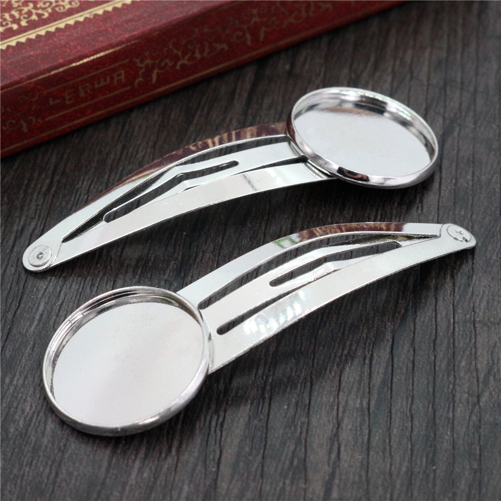 20mm 10pcs High Quality Rhodium Plated Copper Material Hairpin Hair Clips Hairpin Base Setting Cabochon Cameo  J5-13