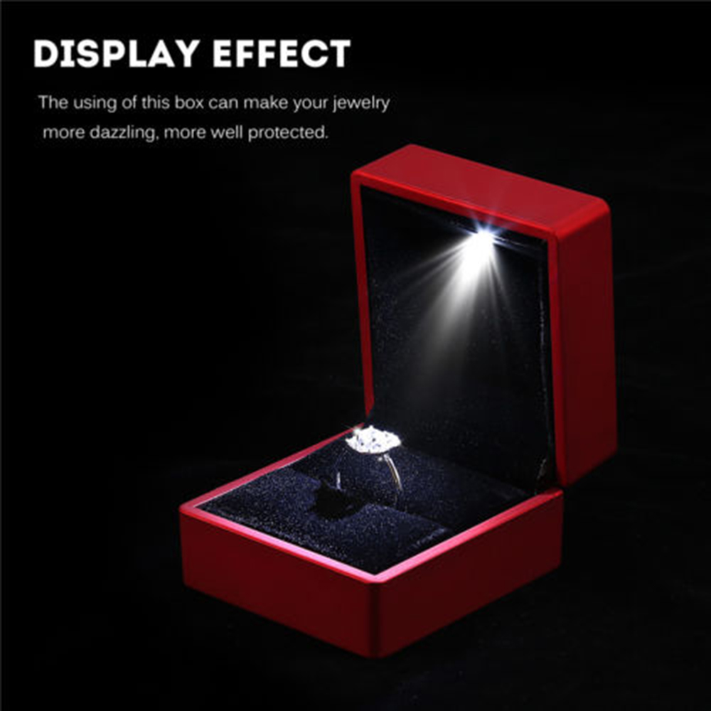Creative Elegant LED Lighted Ring Storage Box Jewelry Display Showcase Gift Packing Case Wedding Ring Pendant Custom Jewelry Box