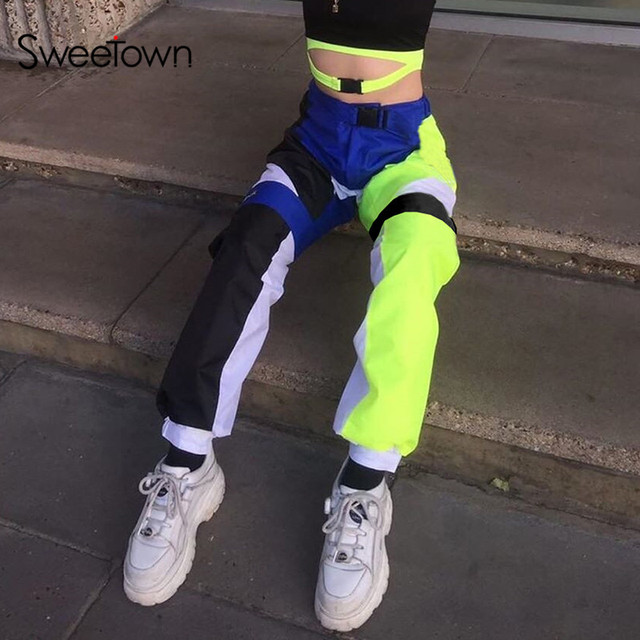 $ US $13.65 Sweetown Casual Neon Contrast Color Patchwork Hip Hop Baggy Pants Streetwear High Waist With Buckle Womens Joggers Sweatpants