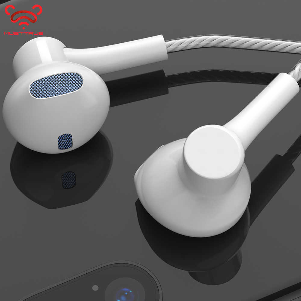 Original MUSTTRUE Brand 3.5mm connector in-ear Earphone With Microphone Super Stereo DJ 4D Sound Headset for iphone