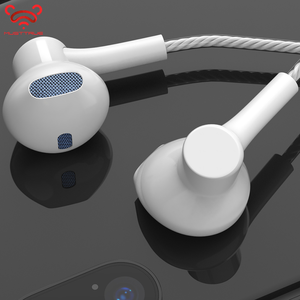 Original MUSTTRUE Brand 3.5mm connector in-ear <font><b>Earphone</b></font> <font><b>With</b></font> <font><b>Microphone</b></font> Super Stereo DJ 4D Sound Headset for iphone image