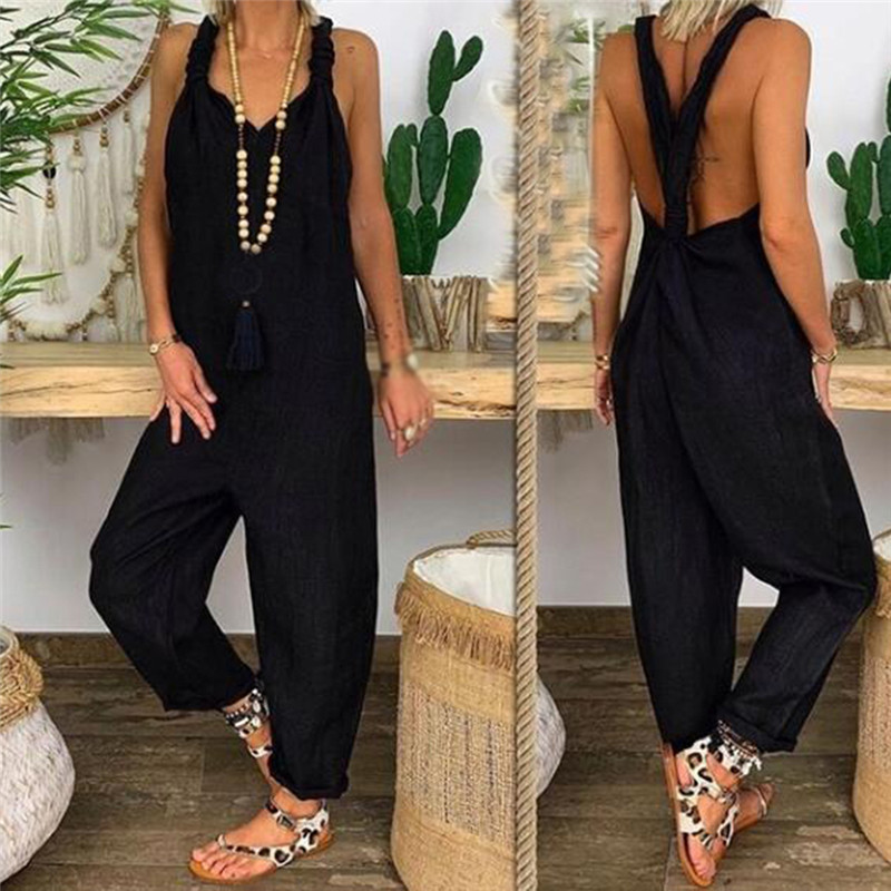 Women's Backless Jumpsuits 2020 Autumn Clothing Fashion Sleeveless Jumpsuits For Female Spaghetti Strap Solid Jumpsuits