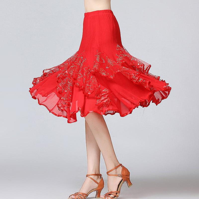 Image 3 - New Ballroom Dance Skirts Women Latin Tango Modern Dancing Skirts National Standard Waltz Flamenco Competition Dance DressBallroom   -