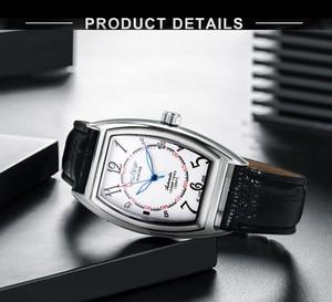 Image 2 - זוכה הרשמי מכאני שעון חבית כיכר לבן שחור לוח שנה רצועת עור יוניסקס כל משחק קלאסי עסקים מקרית שמלה