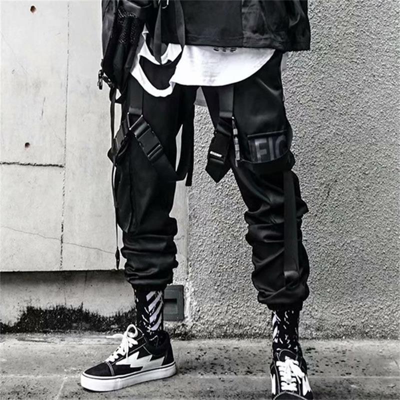 2020 new hip-hop jogger men's black harem overalls multi-pocket ribbon men's sports pants streetwear casual men's casual pants 5