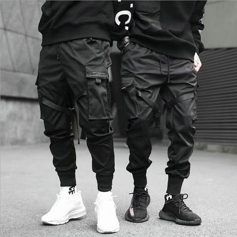 Nastri Harem Joggers pantaloni Cargo da uomo Streetwear 2021 tasche Casual Hip Hop pantaloni sportivi in cotone pantaloni moda uomo Harajuku 1
