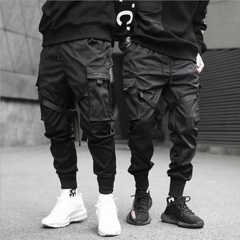 Pantalones bombachos con cintas para hombre, ropa de calle estilo Hip Hop, Casual, con bolsillos, de algodón, moda Harajuku, 2021 1