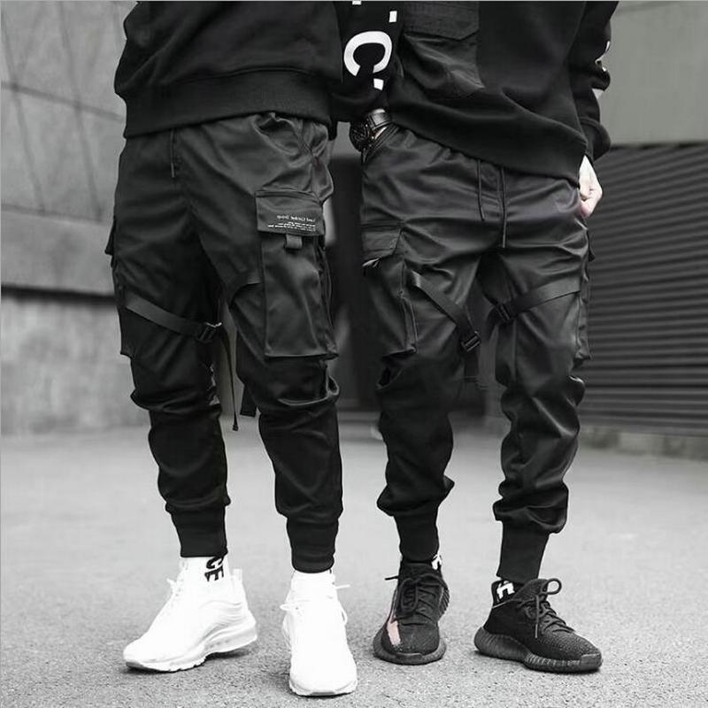 Noir Hip Hop Cargo pantalon hommes Streetwear mode coton Joggers pantalons de survêtement décontracté Harem pantalon été Harajuku hommes vêtements