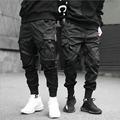 Джоггеры мужские с лентами, брюки-карго, уличная одежда 2021, повседневные хлопковые тренировочные штаны в стиле хип-хоп с карманами, модные б...