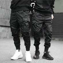 Wstążki Harem Joggers męskie spodnie bojówki Streetwear 2021 hip-hopowe casualowe kieszenie bawełniane spodnie do biegania męskie modne spodnie Harajuku