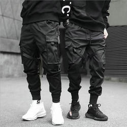 Ribbons Harem Joggers Men Cargo Pants Streetwear 2021 Hip Hop Casual Pockets Cotton Track Pants Male Harajuku Fashion Trousers