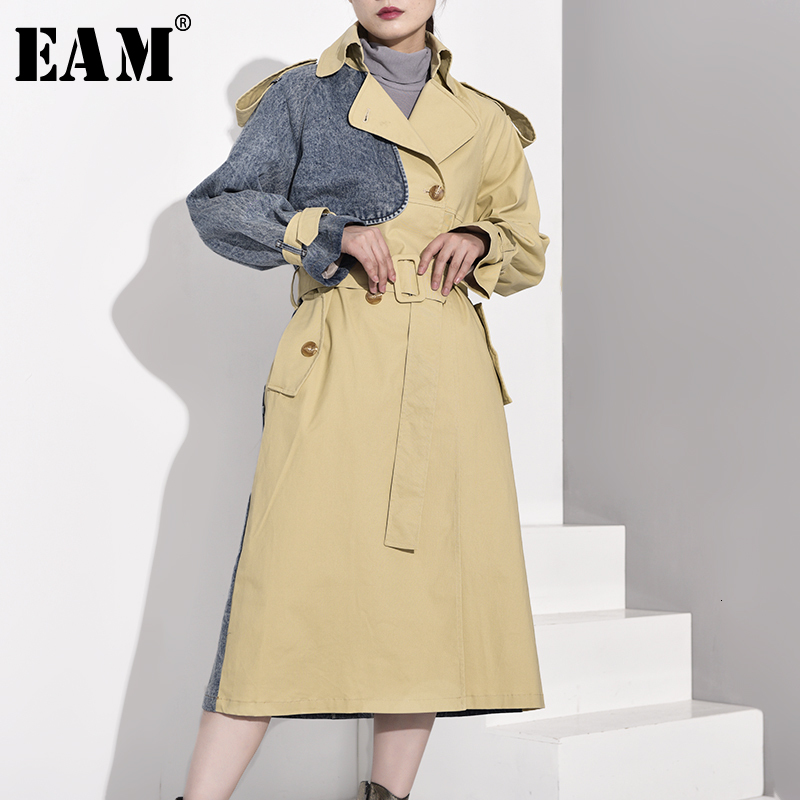 [EAM] Women Khaki Denim Split Joint Long Trench New Lapel Long Sleeve Loose Fit Windbreaker Fashion Autumn Winter 2019 WJ2660