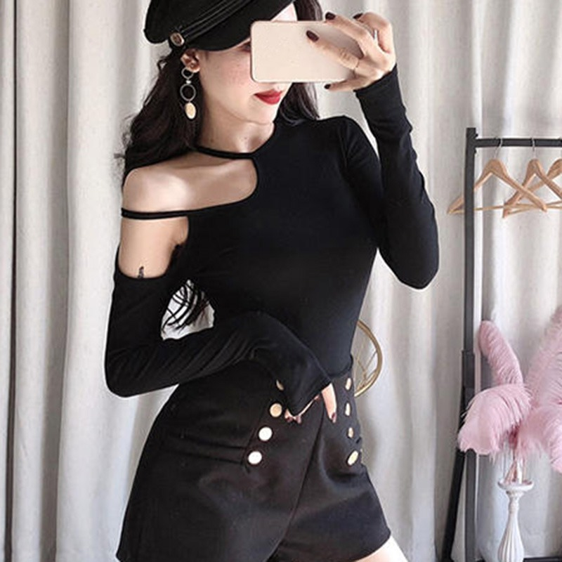 <font><b>Sexy</b></font> Off Shoulder <font><b>Women</b></font> T-shirt Top Female Long Sleeve Solid T Shirt Fashion Korean Black <font><b>Green</b></font> <font><b>Tshirt</b></font> 2019 image