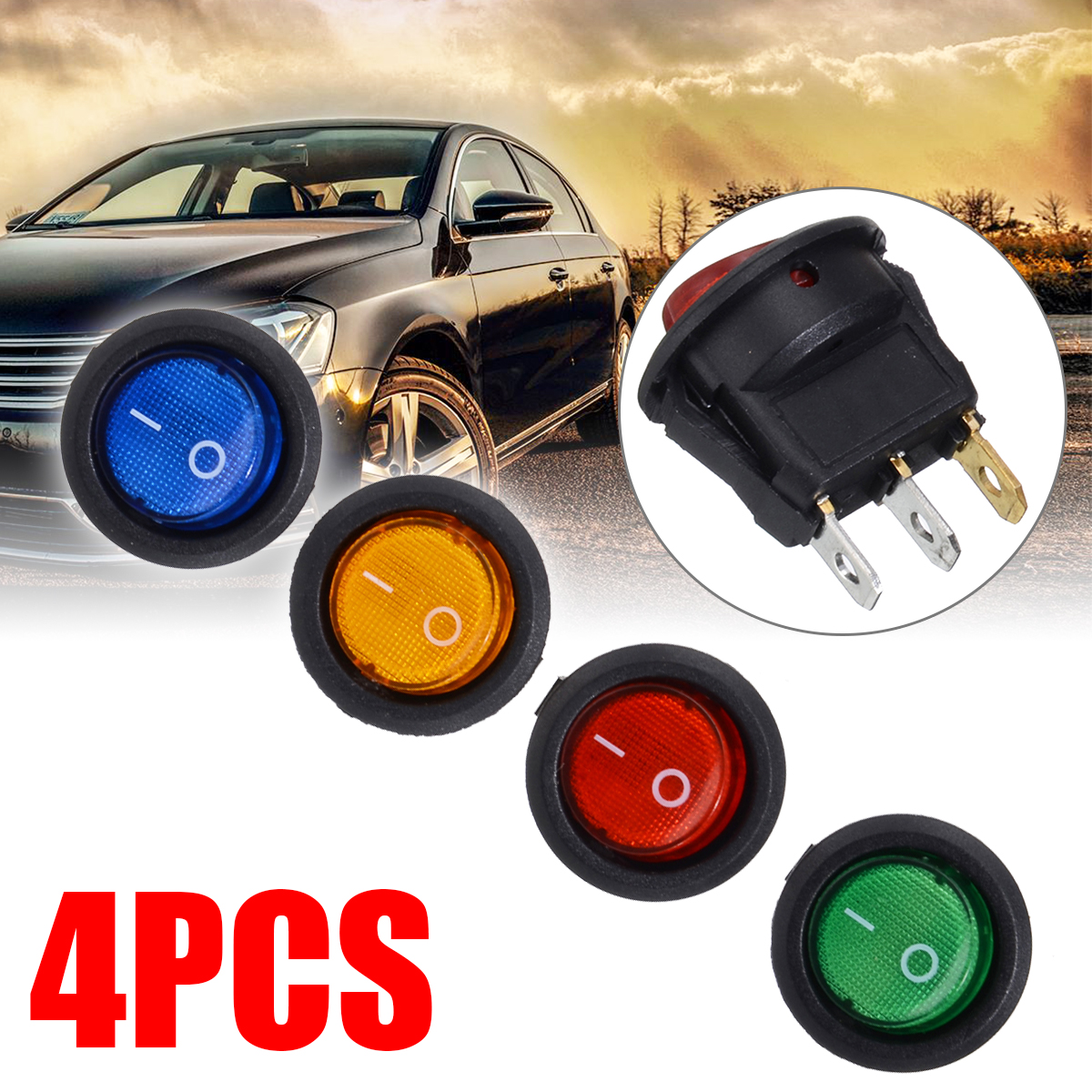 4X Round Car On Off LED Rocker Switch 12V 16A Auto Boat Toggle Switches SPST Red/Blue/Green/Yellow Dot