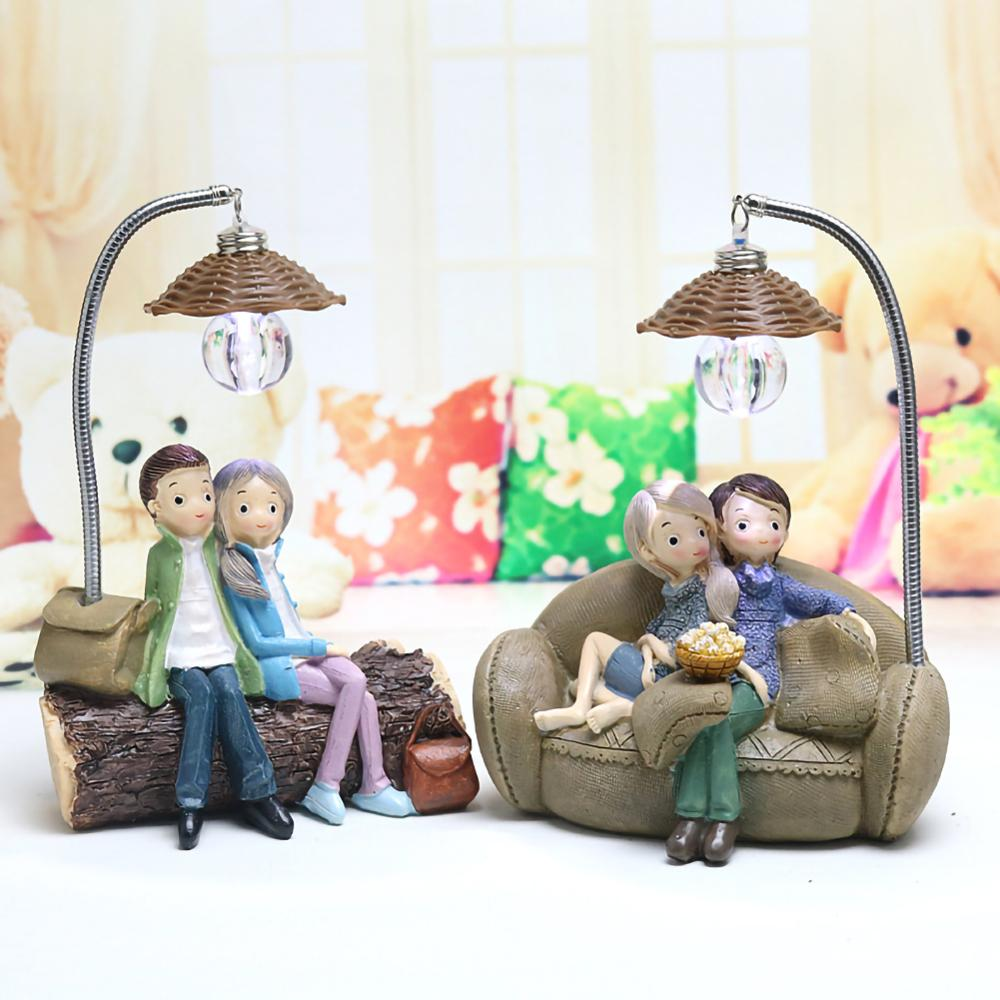 1PCS Lovers Boys And Girls Night Lamp Figurines Miniatures Fairy Garden Gnome Moss Valentine's Day Gift Resin Crafts Home Decor