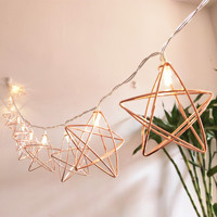 10led battery pack  Christmas room decorated with iron diamond  rose gold copper wire  pentagram  rose gold  geometric light  ga|Lighting Strings|   -