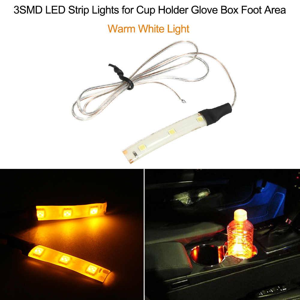 3SMD LED Strip Lights for Cup Holder Glove Box Foot Area,Blue Light