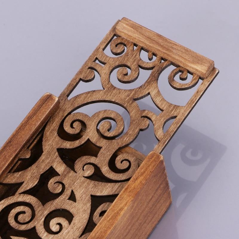 Retro Wooden Stationery Case Hollow Out Boxes Desktop Pencil Storage Organizer DXAC