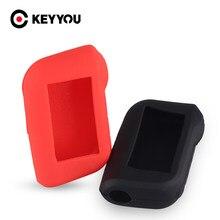 Keyyou para starline a93 a63 versão russa em dois sentidos alarme de carro lcd controlador remoto chaveiro fob capa silicone caso chave automática