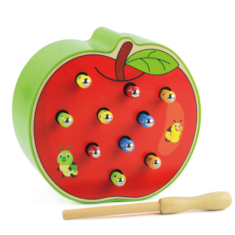 Catch Worm Game Magnetic Wooden Toys For Children 3D Puzzle Early Childhood Educational Toys Color Cognitive Strawberry Apple