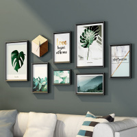 7 Pieces Modern Style Photo Frame Set High Quality Art Creative Hanging Picture Frames Green Fotos Light Luxury Painting Frame