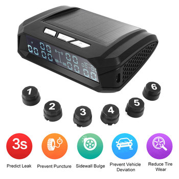 Car Alarm TPMS Solar Bus Truck TPMS Wireless Tire Pressure Monitoring System with 6 External Tyre Pressure Sensors For TruckCar