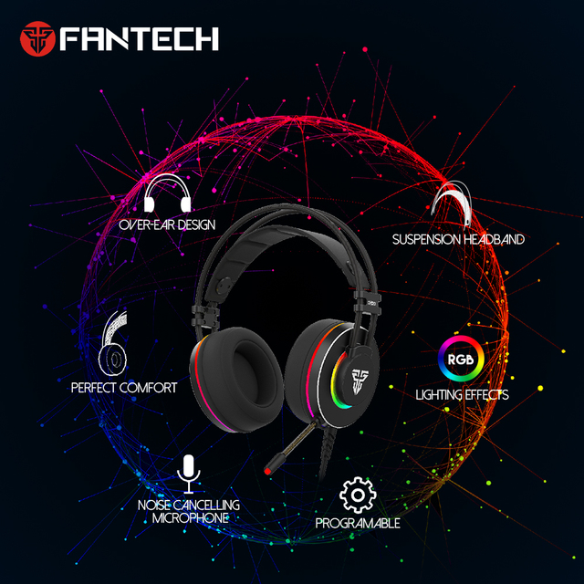 FANTECH HG23 Headphone Personalize With Octane 7.1 RGB USB Just Wired Gaming Headset Alloy Earmuffs For PC PS4 Gaming Headphones 3