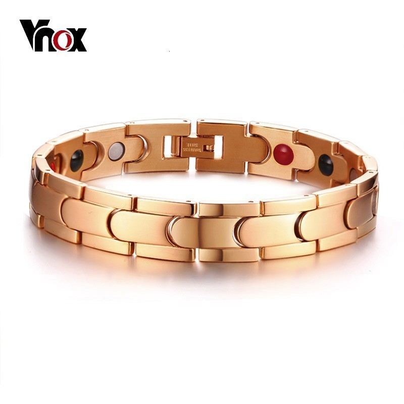 Vnox Therapy Magnetic Bracelets for Women Men <font><b>585</b></font> Rose Gold Tone Stainless Steel Power Stones Link Chain Unisex Bracelets image