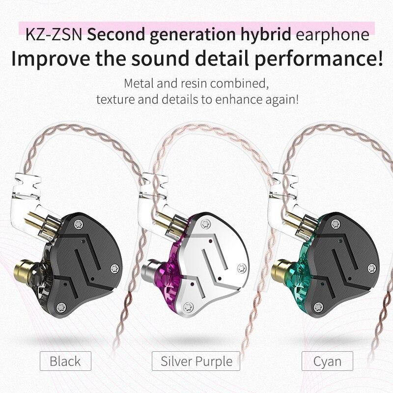 Гибридные наушники вкладыши KZ ZSN 1BA + 1DD, DJ монитор, спортивные наушники для бега, Hi Fi гарнитура, наушники вкладыши со съемным разъемом, 2 контактный кабель, KZ BA10|Наушники и гарнитуры| | АлиЭкспресс