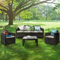 Alle Wetter Anti-Uv Terrasse Gespräch Set PE Rattan Wicker Sofa Sessel für Outdoor Indoor Hinterhof Veranda Garten Am Pool VERWENDEN