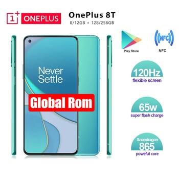 Neue Ankunft OnePlus 8 T 8 T 8GB/12GB 128GB/256GB Handy 120hz Display Snapdragon 865 65W Warp Ladung Einer plus 8 T Smartphone