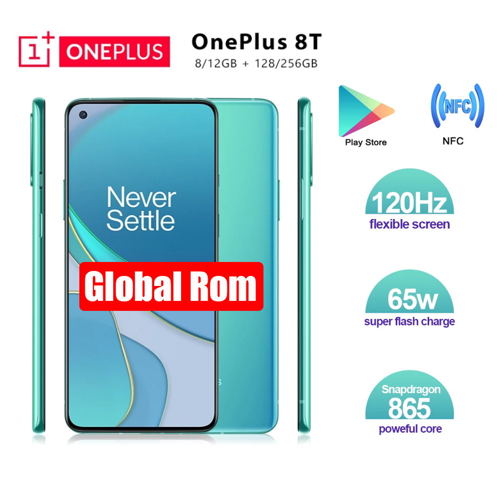 New Arrival OnePlus 8T 8 T 8GB/12GB 128GB/256GB Mobile Phone 120Hz Display Snapdragon 865 65W Warp Charge One plus 8T Smartphone