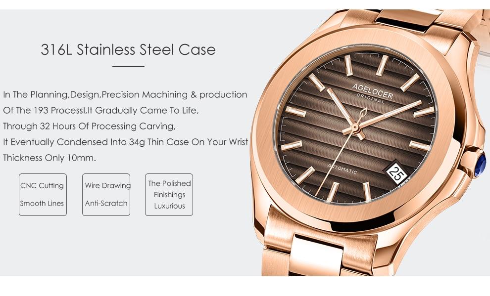 de pulso mecânico marrom marca superior luxo