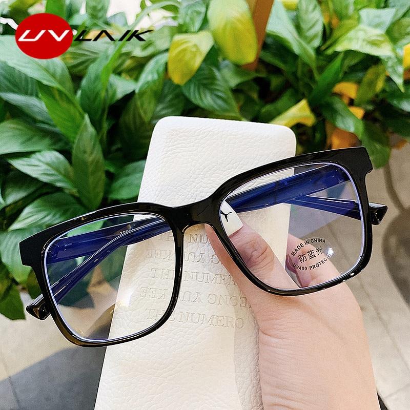 UVLAIK Anti Blue Light Square Glasses Frame Women Men Trendy Big Frame Spectacles Frames Ladies Transparent Optical Eye Glasses