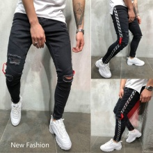 Men Jeans Side Stripe New Style Fashion Denim Skinny Destroyed Leggings Pants for
