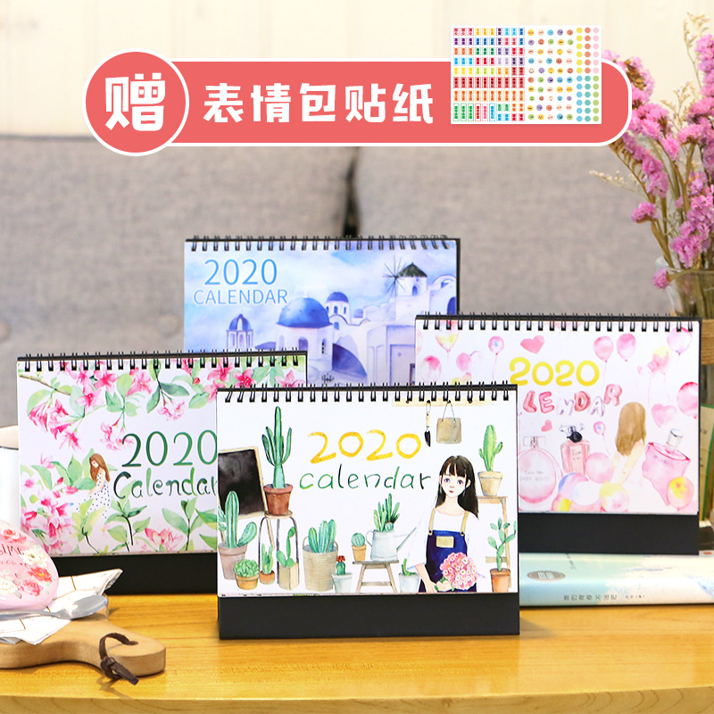 Dreamy Pink Memory 2020 Perfume Bottle Desktop Standing Coil Calendar Memo Daily Schedule Table Planner Yearly Agenda Organizer