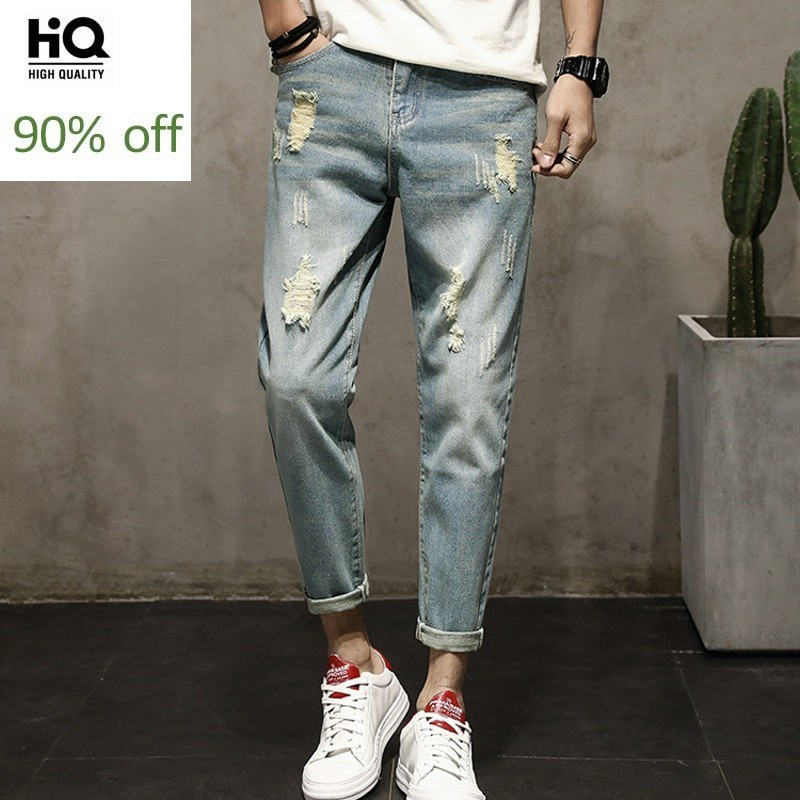 Spring Summer Men Ankle Length Jeans Washed Hole Ripped Boys Student Casual Fashion Slim Fit Skinny Pants Male Denim Trousers