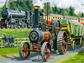 Paint By Numbers Kit Age Of Steam Locomotive Train and Steam Tractor Engine