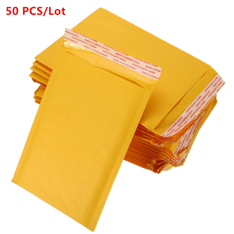 50 PCS/Lot 110x150mm Kraft Paper Mailers Bubble Envelopes Bags Mailers Padded Shipping Envelope With Bubble Mailing Bag