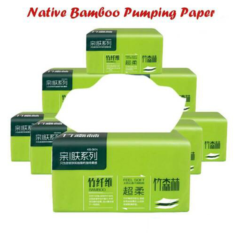 1 Pack Native Bamboo Pulp Natural Color Pumping Paper Household Napkin Toilet Paper 4 Layers Comfortable Fluffy Paper Towels