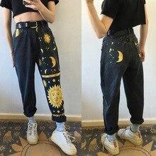 Trousers Jeans Leg-Pants Sun-Stars American Straight European Moon Hipster Digital-Printing