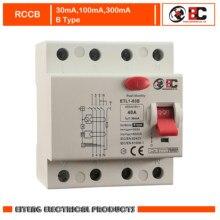 Disjoncteur de courant résiduel, RCCB ETL1-63B de type B, 400/415V ~ 50HZ/60HZ, 6a, 10a, 16a, 20a, 25a, 32a, 40a, 63a, Type B 1KHz DC